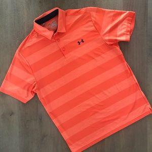 UA HeatGear Orange Polo Golf Short Sleeve Top -bb7